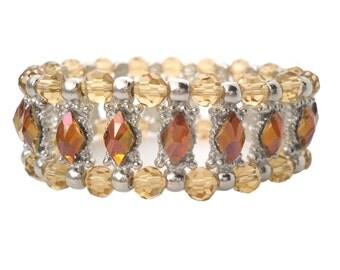 Stretch Bracelet Topaz Swarovski Crystal Antique Silver/Unique Jeweled Bracelet/Bling Boho Bracelet/Costume Jewelry/Art Deco Bracelet/Gypsy