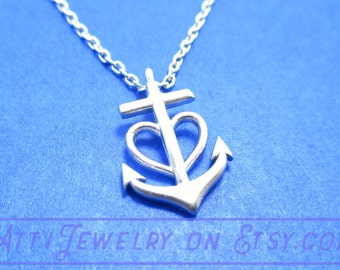 Nautical Inspired Heart and Anchor Pendant Necklace in Silver  | Handmade Minimal Jewelry