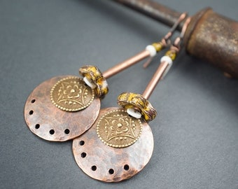 copper discs earrings • ceramic flowers • hand textured copper • tribal earrings • boho earrings • ethnic floral charms • ethnic chic