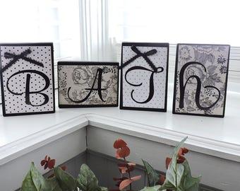 Bathroom Blocks | Bathroom Sign | Bath Block | Bathroom Decor | Bathroom Shelf Sitter | Home Decor | Gifts for Her  | Wooden Bath Decor
