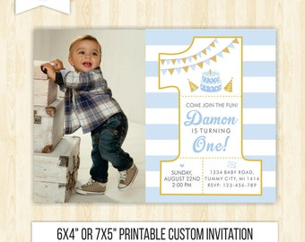 Boy birthday invitation 1 birthday invitation number blue invitation gold number one 1st birthday invite boy birthday party printable 215