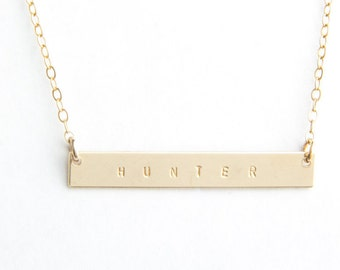 "Long Bar Name Necklace, 1.50"", Personalized, Gold Filled, Sterling Silver, Rose Gold Filled"