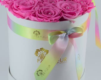 Pink  preserved roses - white  hatbox - rainbow ribbon
