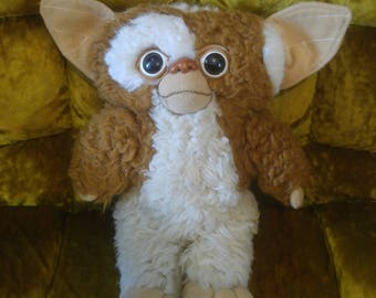 1984 GIZMO PLUSH Doll Gremlins 80s 1980s Toy Mogwai Applause Plushie Stuffed Animal Brown and White Furry Movie Classic Gismo Warner Bros