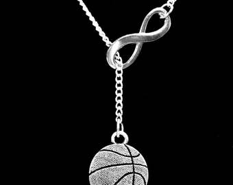 Basketball Necklace, Sports Mom Gift Infinity Y Lariat Necklace