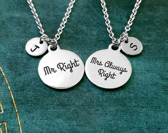 Mr Right Necklace Mrs Always Right Necklace SET Mr. and Mrs. Right Couples Necklace Couples Jewelry Husband and Wife Necklace Anniversary