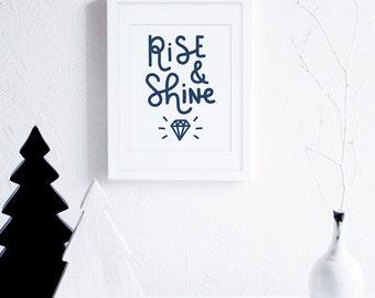 Navy Blue Boys Room Art, Rise and Shine Art Printable, Like a Diamond Art, Nursery Art Instant Download, Modern Typographic Art Download