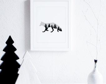 Fox Art Prints, Fox Wall Decor, Grey Wall Art, Neutral Art Printable, Woodland Animal Art Print, Cabin Decor, Modern Nursery Decor, Foxes