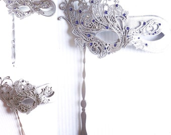 Masquerade Mask, Silver and Sapphire Studded Stick Mask, Stick Mask, Hand Held Masquerade Mask