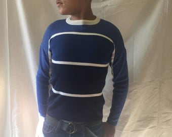 Vintage Ivory Blue and Navy Head Ski Sweater