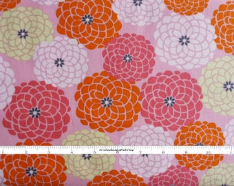 Green, Coral, Pink Zinnias Floral Fabric, Robert Kaufman Revere Garden, 14018, Linda Birtel, Pink Light Design, Flower Quilt Fabric, Cotton