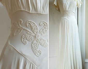 Late 1930s White Rayon Jersey Wedding Dress Gown with Soutache