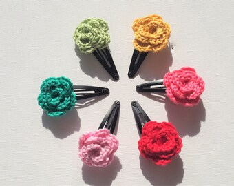 Crochet hair clips, flower, handmade, 100% cotton yarn, hair accessories, gift for girls, a set of 6