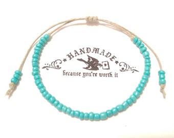 Custom Hemp Anklet Handmade, Anklet, Beaded Ankle Bracelet, Hemp Jewelry, Body Jewelry, Candmjewelrydesigns.