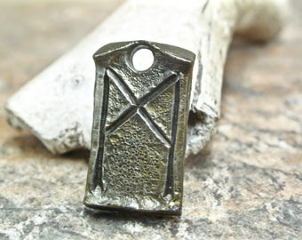 Mannaz Celtic Viking Rune Pendant - blacksmith forged wrought iron steel zipper charm, necklace.