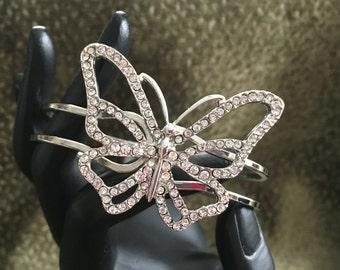 Butterfly  Silver Tone  Clamper Cuff Bracelet, Rhinestone Butterfly Bracelet,  Silver Tone Rhinestone Butterfly Clamper Bracelet