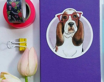 Cute Basset Hound wearing glasses watercolor illustrated laptop vinyl sticker