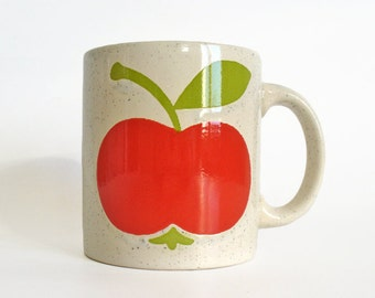 Waechtersbach tea cup or coffee mug with large red apple and green leaf