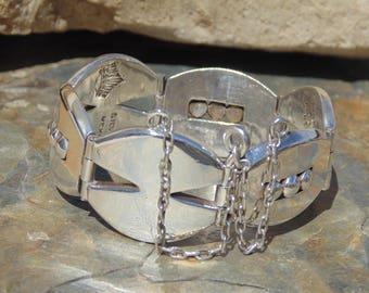 Antonio Pineda ~ Signed Vintage Chunky Mexico Silver Bracelet - 102 Grams