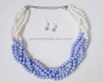 Lavender Statement Necklace, Light Purple Necklace, Wedding Jewelry, Purple Multi Strand Necklace, Chunky Bib Necklace
