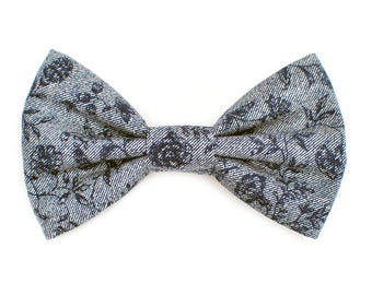 The Florence Bow Tie — Dog Bowtie, Made in Brooklyn, Bowtied, Blue Denim Chambray Floral