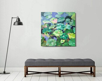 large waterlilly painting, original painting, plant painting, contemporary painting, botanical art, waterlilly painting , large canvas art