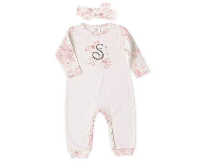 Personalized Newborn Girl Coming Home Outfit, Newborn Baby Girl Outfit, Baby Girl Take Home Romper, Baby Initial Romper, Headband, Tesababe
