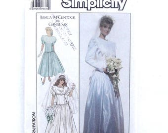 Vintage 80's Simplicity Wedding Gown & Bridesmaid Dress Sewing Pattern #9009 - UNCUT - Size 8 (Bust 31 1/2)