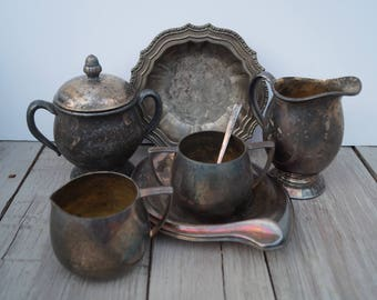 7 Piece Set of Silver Plated Bowls and Creamers
