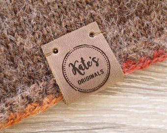 Knitting labels, center fold leather labels, crochet labels, folding labels, leather tags, branding logo labels, personalized leather labels