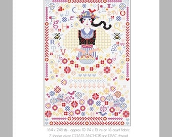 CROSS STITCH PDF Chart Download Flower Girl Sampler by Riverdrift House