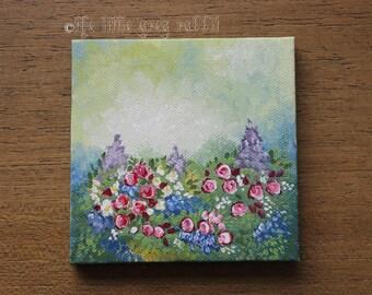 Mini Flower Painting, Canvas Painting, Flower Art, Spring Decor, Garden Art, Impressionist Painting, Summer Home Decor, Miniature Painting