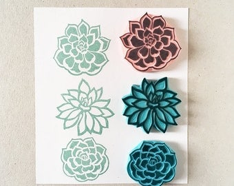 Succulent Rubber Stamps, set of 3 stamps, hand carved stamps, cactus, wedding ideas, made in Europe