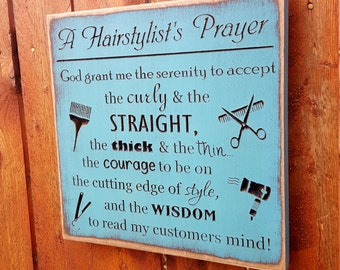 "Custom Carved Wooden Sign - ""Hairdresser's Prayer"""