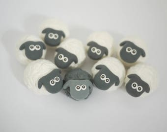 Black and White Sheep Easter Decorations (Box of 9)