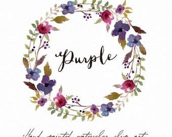 Watercolor floral wreath clipart-Purple/Individual PNG files/Hand Painted/Wedding design