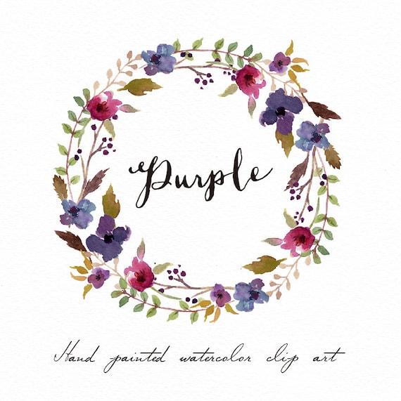 Couronne de fleurs aquarelle clipart violet individu png for Couronne de fleurs