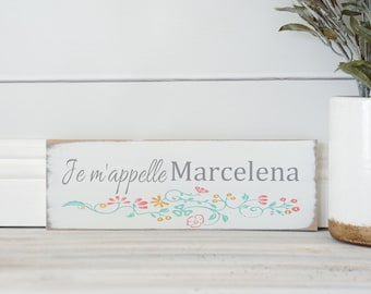 Je m'appelle Custom Name Paris Vintage Decor Girls Room Wall Art Nursery French Shabby Chic Baby Shower Gold Mint Pink Floral Personalized