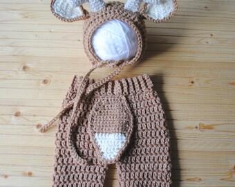 Baby Deer Costume, Newborn Deer Hat, Deer Bonnet, Antler Bonnet, Deer Hat, Knit Deer Outfit, Crochet Deer Hat, Newborn Photography Outfit