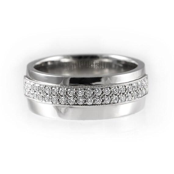 Wide Diamond Wedding Band Unique Half Eternity Wedding Ring