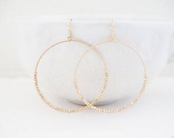 Gold Matte Beaded Hoop Earrings