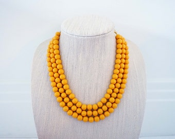 Mustard Yellow Beaded Statement Necklace