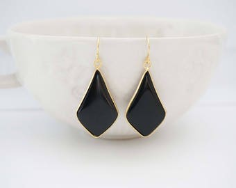 Black and Gold Pendant Earrings