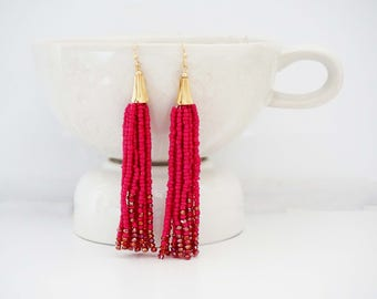 Hot Pink and Gold Beaded Tassel Earrings