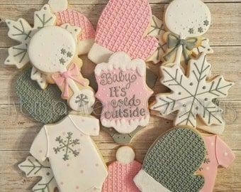 12 Baby It's Cold Outside Sugar Cookies - Winter Baby Girl Shower - Baby It's Cold Outside Shower - Winter Baby Sugar Cookies