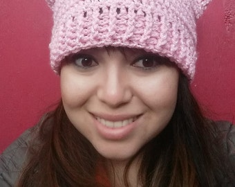 Pussy Hat; Crochet Pussy Hat; Cat Hat; Kitten Hat; Costume Hat; Halloween Costume; Pink Hat