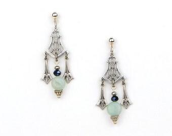 Silver Bohemian Dangle Earrings, Boho Chic Stone Jewelry, Bohemian Gemstone Jewelry, Amazonite Stone Earrings, Vintage Style Earrings