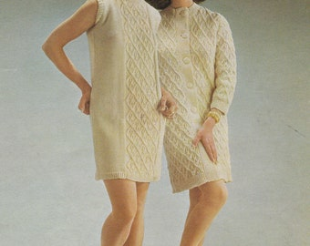 Womens cable coat and dress vintage knitting pattern pdf INSTANT download pattern only pdf 1960s 34 36 38 inches