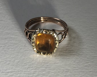 A Georgian Foil Back Citrine Ring