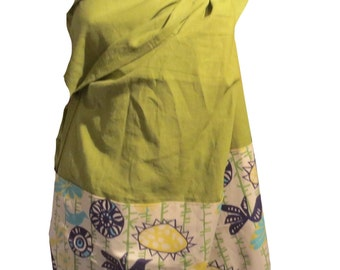 Ring sling blossom, Linen green with pattern yellow birds, Ring sling for baby, Sling in linen, baby carrier, baby wrap
